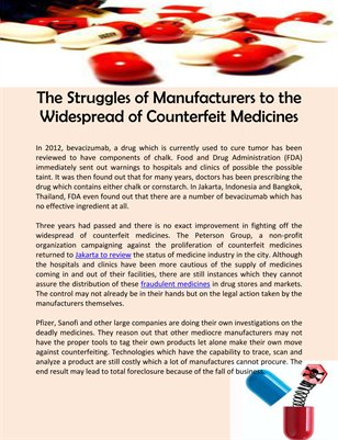 The Struggles of Manufacturers to the Widespread of Counterfeit Medicines