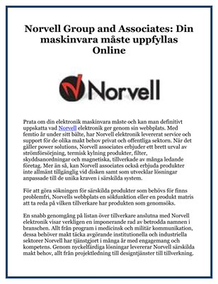 Norvell Group and Associates: Din maskinvara måste uppfyllas Online