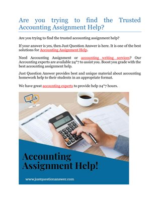 Are you trying to find the Trusted Accounting Assignment Help