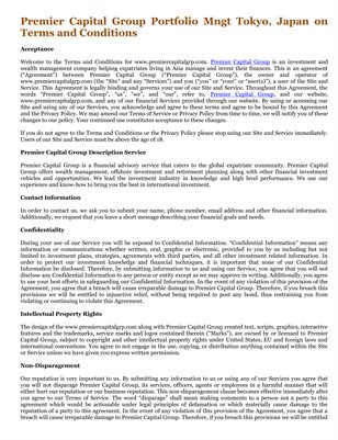 Premier Capital Group Portfolio Mngt Tokyo, Japan on Terms and Conditions