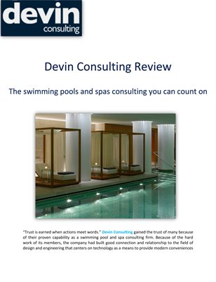 Devin Consulting Review: The swimming pools and spas consulting you can count on