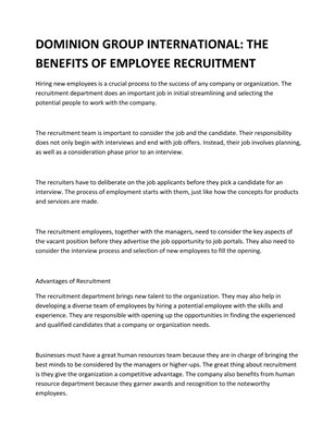 DOMINION GROUP INTERNATIONAL: THE BENEFITS OF EMPLOYEE RECRUITMENT
