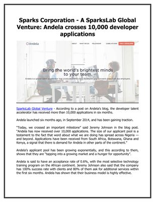 Sparks Corporation - A SparksLab Global Venture: Andela crosses 10,000 developer applications