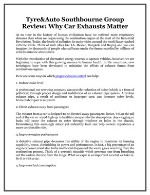 Tyre&Auto Southbourne Group Review: Why Car Exhausts Matter