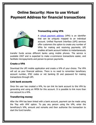 Online Security: How to use Virtual Payment Address for financial transactions