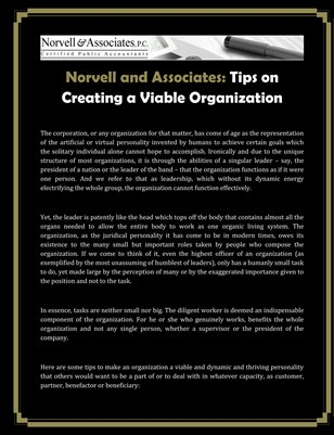 Norvell and Associates: Tips on Creating a Viable Organization