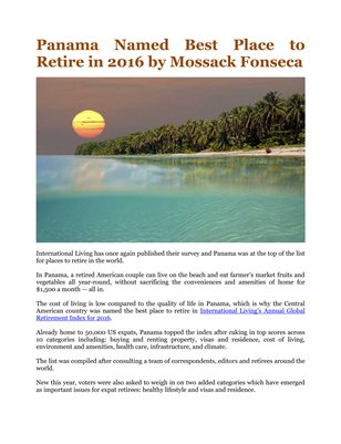 Panama Named Best Place to Retire in 2016 by Mossack Fonseca
