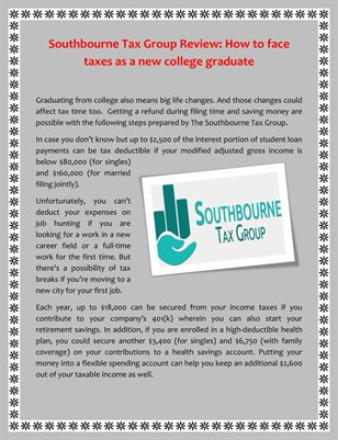 Southbourne Tax Group Review: How to face taxes as a new college graduate