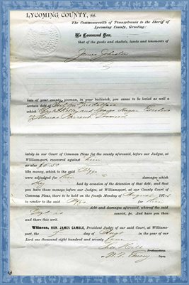 1874 CHARLES KELLY, GEORGE HAGAN, EXECUTORS OF THOMAS PARRENT DEC., VS. JAMES JOHNSTON, LYCOMING COUNTY, PA.