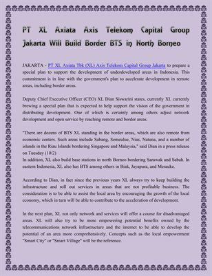 PT XL Axiata Axis Telekom Capital Group Jakarta Will Build Border BTS in North Borneo