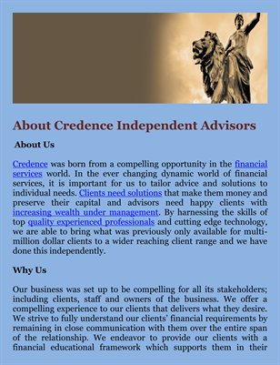 About Credence Independent Advisors