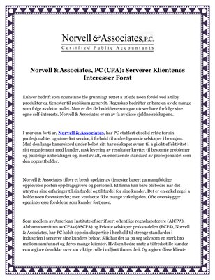 Norvell & Associates, PC (CPA): Serverer Klientenes Interesser Forst