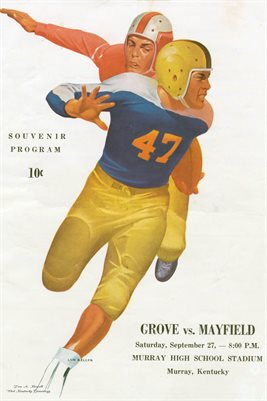 SEPT 27, 1947 MAYFIELD KENTUCKY FOOTBALL SOUVENIR POSTER, GROVES VS. MAYFIELD