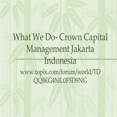 What We Do- Crown Capital Management Jakarta Indonesia