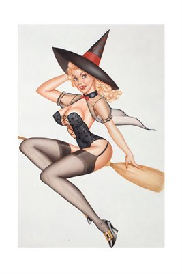 Classic Pin-Up with a Broom
