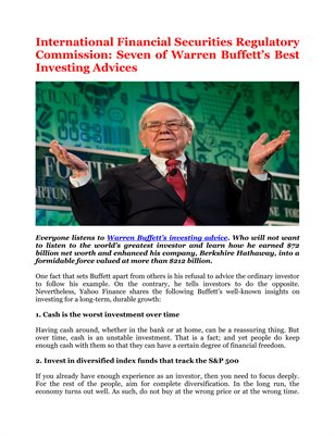 International Financial Securities Regulatory Commission: Seven of Warren Buffett's Best Investing Advices