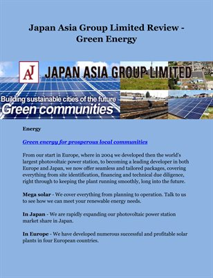 Japan Asia Group Limited Review - Green Energy