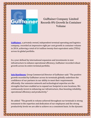 Gulftainer Company Limited Records 8% Growth In Container Volume