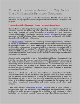Mossack Fonseca Joins the 'My School First'Mi Escuela Primero' Program