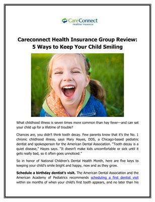 Careconnect Health Insurance Group Review: 5 Ways to Keep Your Child Smiling
