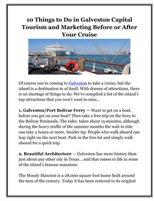 10 Things to Do in Galveston Capital Tourism and Marketing Before or After Your Cruise