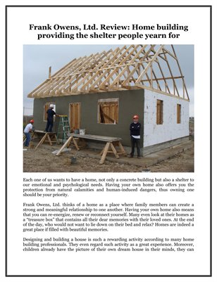 Frank Owens, Ltd. Review: Home building providing the shelter people yearn for