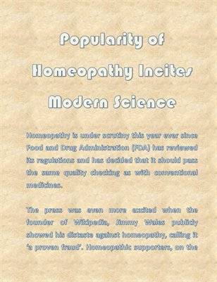 Popularity of Homeopathy Incites Modern Science