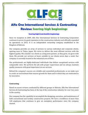 Alfa One International Services & Contracting Review: Soaring high beginnings