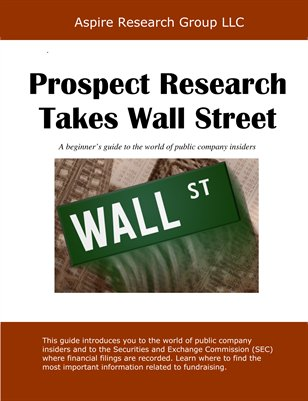 Prospect Research Takes Wall Street