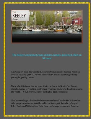 The Keeley Consulting Group: Climate change's projected effect on NC coast