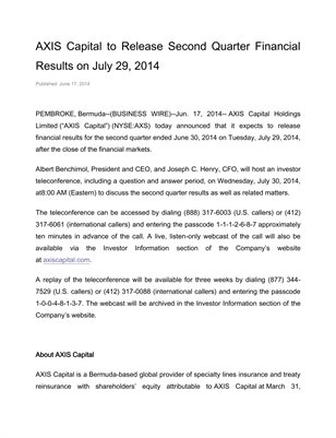 AXIS Capital to Release Second Quarter Financial Results on July 29, 2014