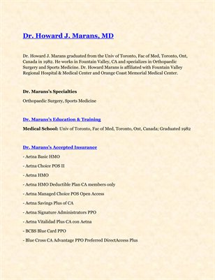 Dr. Howard J. Marans, MD