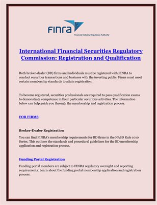 International Financial Securities Regulatory Commission: Registration and Qualification