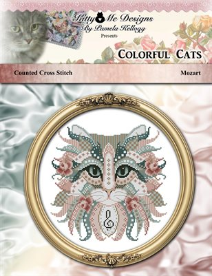 Colorful Cats Mozart Counted Cross Stitch Pattern