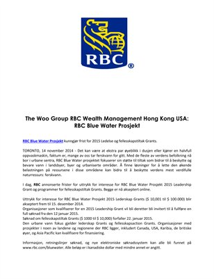The Woo Group RBC Wealth Management Hong Kong USA: RBC Blue Water Prosjekt