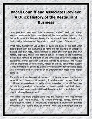 Bacall Conniff and Associates Review: A Quick History of the Restaurant Business