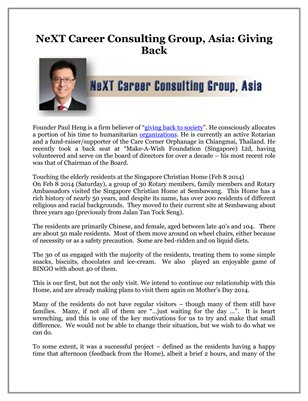 NeXT Career Consulting Group, Asia: Giving Back