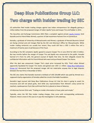 Deep Blue Publications Group LLC: Two charge with insider trading by SEC