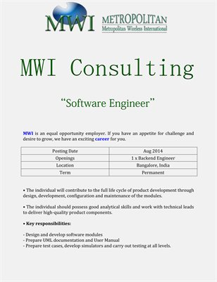 MWI Consulting: Software Engineer