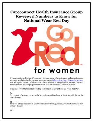Careconnect Health Insurance Group Review: 5 Numbers to Know for National Wear Red Day