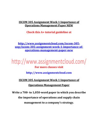 ISCOM 305 Entire Course NE