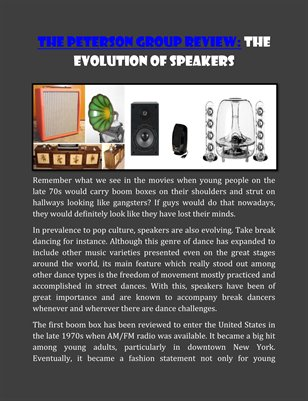The Peterson Group Review: The Evolution of Speakers