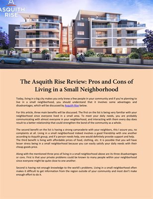 The Asquith Rise Review: Pros and Cons of Living in a Small Neighborhood
