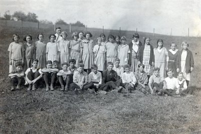1921-22 7 & 8th grade, Hill School, New Bldg, Jefferson County, Ohio