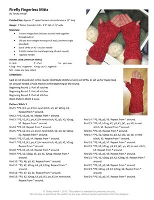 Firefly Mitts Pattern