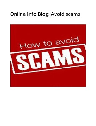 Online Info Blog: Avoid scams