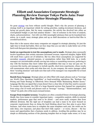 Elliott and Associates Corporate Strategic Planning Review Europe Tokyo Paris Asia: Four Tips for Better Strategic Planning