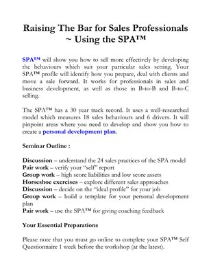 Raising The Bar for Sales Professionals ~ Using the SPA™