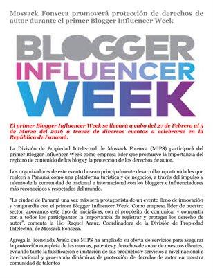Mossack Fonseca promoverá protección de derechos de autor durante el primer Blogger Influencer Week