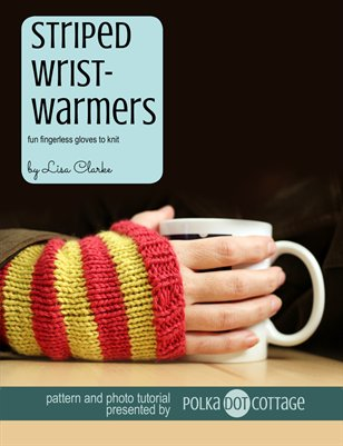 Striped Wristwarmers Knitting Pattern and Tutorial